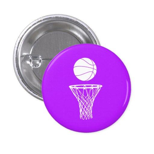 Baloncesto y púrpura del botón del aro pin