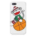 Baloncesto y regalos del mono del calcetín iPhone 5 protector