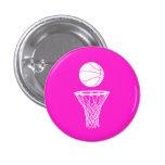 Baloncesto y rosa de botón del aro pins