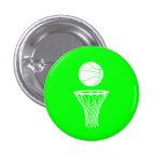 Baloncesto y verde del botón del aro pin