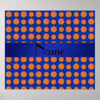Baloncestos azules conocidos personalizados poster