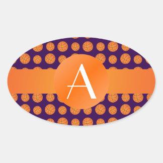 Baloncestos de la púrpura del monograma calcomanía de oval