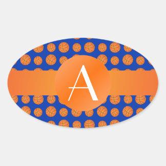 Baloncestos del azul del monograma calcomanías ovales personalizadas