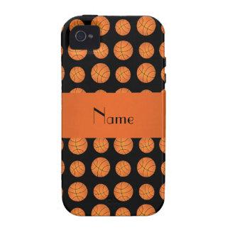 Baloncestos negros conocidos personalizados iPhone 4 carcasa