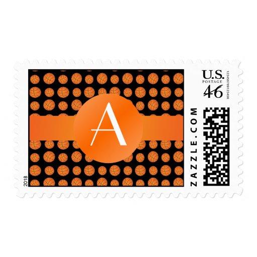 Baloncestos negros del monograma sello