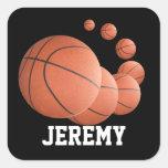 Baloncestos personalizados en el aire pegatinas cuadradas