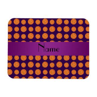 Baloncestos púrpuras conocidos personalizados imán de vinilo