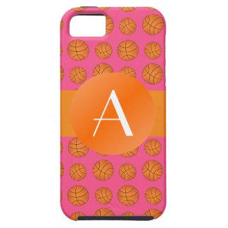 Baloncestos rosados del monograma iPhone 5 Case-Mate cobertura