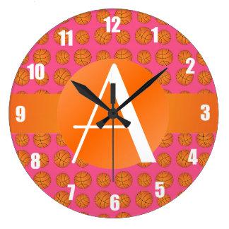 Baloncestos rosados del monograma relojes