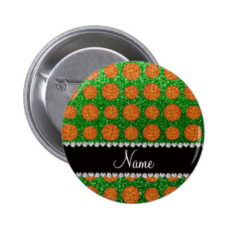 Baloncestos verdes conocidos personalizados del br pin redondo de 2 pulgadas