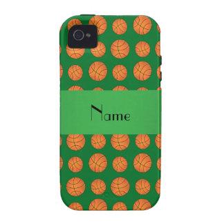 Baloncestos verdes conocidos personalizados iPhone 4 fundas