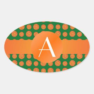 Baloncestos verdes del monograma pegatina de ovaladas