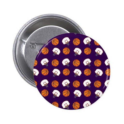 Baloncestos y modelo púrpuras de las redes pins