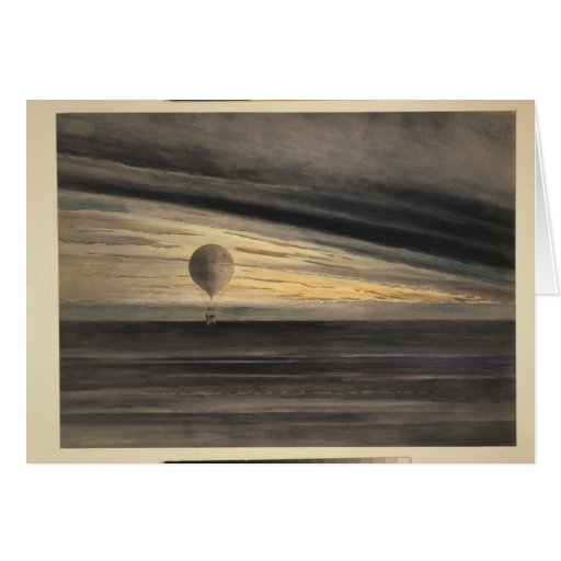 Balones de aire Arte-Calientes del Notecard-Vintag Tarjeta Pequeña