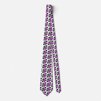 Balones de fútbol blancos y negros en lazo púrpura corbatas personalizadas
