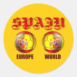 Balones de fútbol españoles de la bandera del pegatina redonda