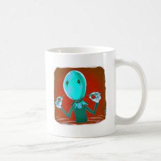 baloon head cartoon style illustration coffee mug