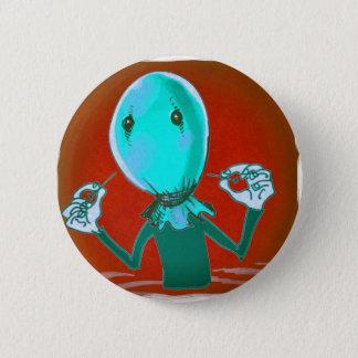 baloon head cartoon style illustration pinback button