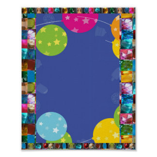 BALOONS AND GEM PEARL BORDER FRAME POSTER