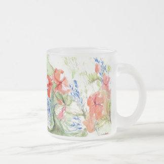 Balsam and Lobelia flowers Frosted Glass Coffee Mug