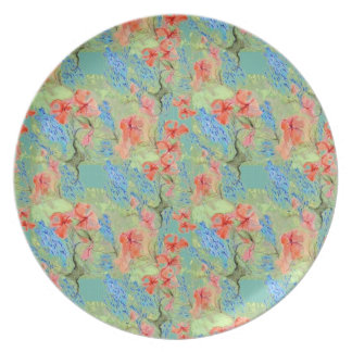 Balsam and Lobelia flowers Plate