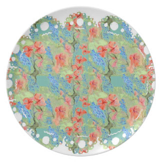 Balsam and Lobelia flowers Plate (lace edge)