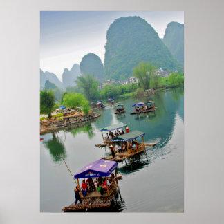 Balsas de Xingping en China Póster