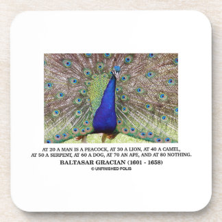 Baltasar Gracian At 20 A Man Is A Peacock Quote Beverage Coaster