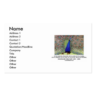 Baltasar Gracian At 20 A Man Is A Peacock Quote Business Card