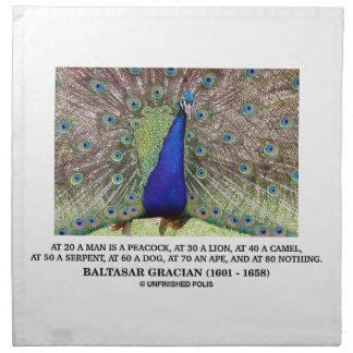 Baltasar Gracian At 20 A Man Is A Peacock Quote Cloth Napkin