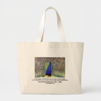 Baltasar Gracian At 20 A Man Is A Peacock Quote Large Tote Bag