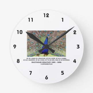 Baltasar Gracian At 20 A Man Is A Peacock Quote Round Clock