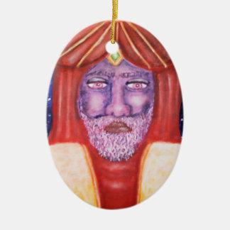"""Balthasar"" Three Kings Christmas Art Double-Sided Oval Ceramic Christmas Ornament"