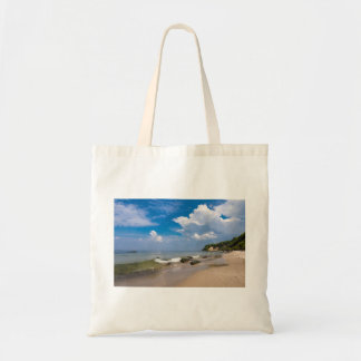 Baltic Sea coast with wave and blue sky Tote Bag
