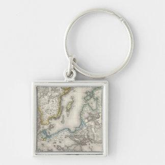 Baltic Sea Region Silver-Colored Square Keychain
