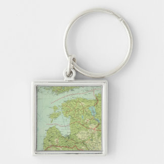Baltic States & East Prussia Silver-Colored Square Keychain