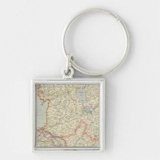 Baltic States Silver-Colored Square Keychain