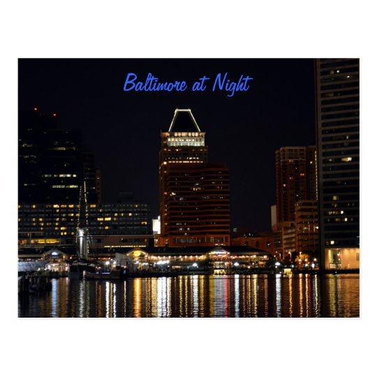 Baltimore at Night Postcard