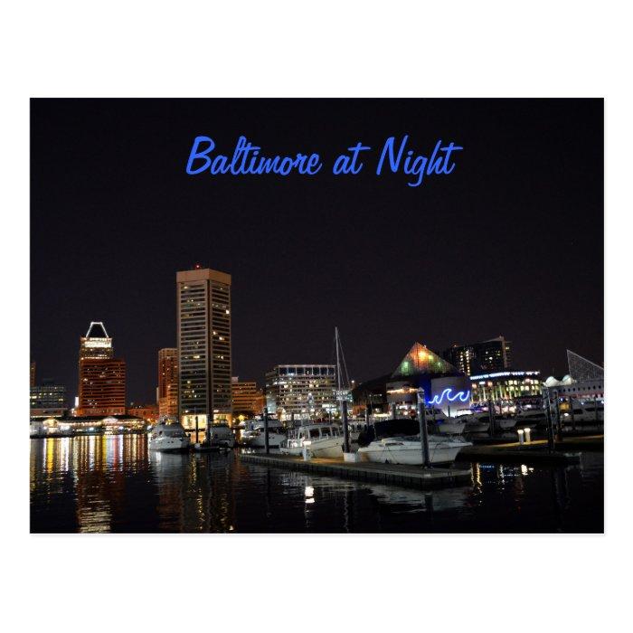 Baltimore at Night Postcard