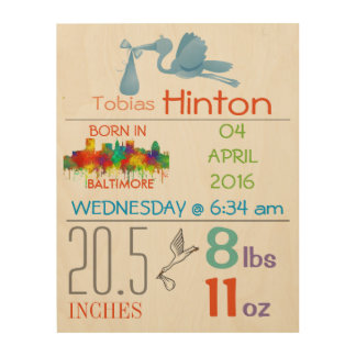 BALTIMORE - BABY BOY ARRIVAL ANNOUNCEMENT WOOD WALL ART