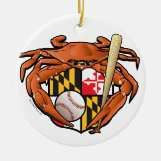 Baltimore Baseball Sports Crab Ceramic Ornament