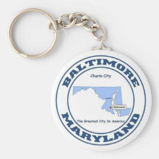 Baltimore Basic Round Button Keychain