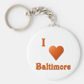 Baltimore -- Burnt Orange Basic Round Button Keychain
