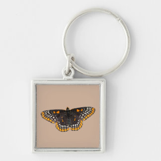 Baltimore Checkerspot Butterfly Silver-Colored Square Keychain