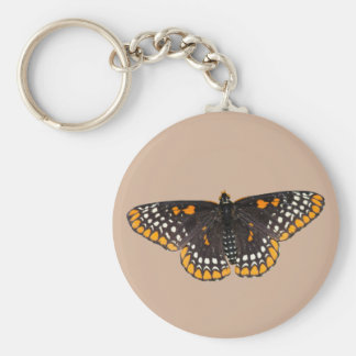 Baltimore Checkerspot Butterfly Basic Round Button Keychain