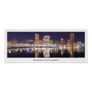 Baltimore City Skyline Sparkles on a WInter NIght Poster