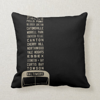 Baltimore Flxible Bus Scroll Throw Pillow (Black)