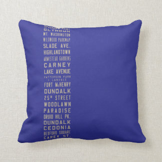 Baltimore Flxible Bus Scroll Throw Pillow (Blue)