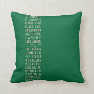 Baltimore Flxible Bus Scroll Throw Pillow (Green)