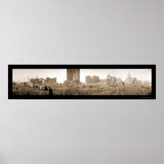 Baltimore, foto grande 1904 del fuego del MD Póster